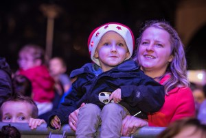 Eddie Keeling (4) and Rebecca Keeling, from Warrington, enjoy the entertainment.