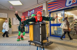 Cheeky Elves Chris & Craig Bieszke caused mayhem around Church Square shopping centre - gift wrapping, carrying shopping, handing out sweets and raising the festive cheer.