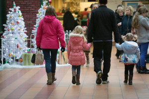 Shoppers in the Airedale Centre, Keighley,