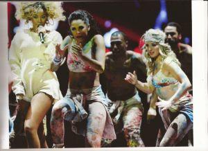 Dancer Dani McLaren performing with Rihanna