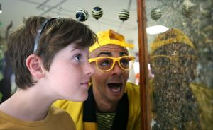Digby Stomper with 11-year-old Alexander Leatherbarrow from Widnes get a close look at some bees