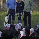 Gareth Williams, Rhug Estate Poultry Manager with his collie Ruby, Delsol customer service manager Melissa Taylor, and Lord Newborough