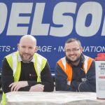 Delsol driver Paul Kavanagh with Steve Jones warehouse supervisor at Bimeda , Llangefni.